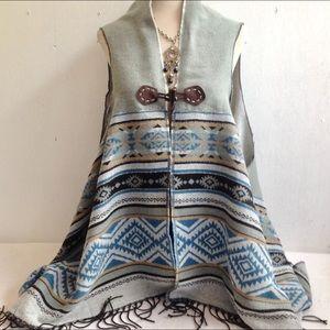 Boho Fringed Blanket Shawl Poncho Wrap